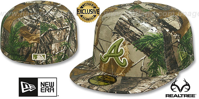 Braves 'MLB TEAM-BASIC' Realtree Camo Fitted Hat by New Era : pictured without stickers that these products are shipped with