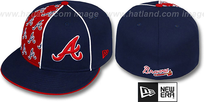 Braves 'MULTIPLY' Navy-Red Fitted Hat by New Era : pictured without stickers that these products are shipped with