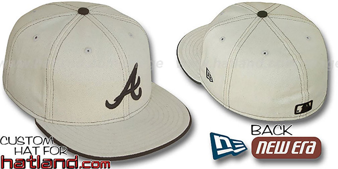 Braves 'NATURAL DENIM' Fitted Hat by New Era : pictured without stickers that these products are shipped with