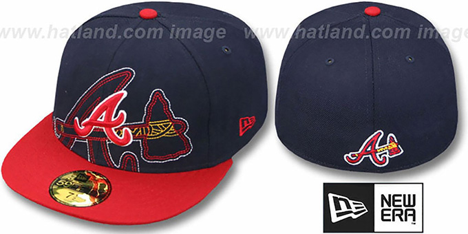 Braves 'NEW MIXIN' Navy-Red Fitted Hat by New Era : pictured without stickers that these products are shipped with