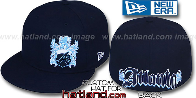 Braves 'OLD ENGLISH SOUTHPAW' Navy-Baby Blue Fitted Hat by New Era : pictured without stickers that these products are shipped with