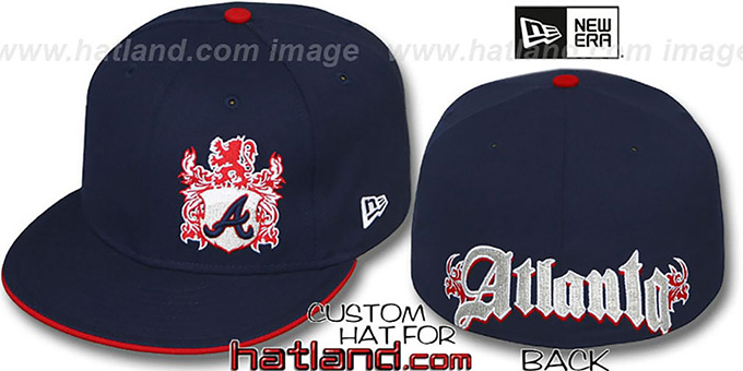 Braves 'OLD ENGLISH SOUTHPAW' Navy-Red Fitted Hat by New Era : pictured without stickers that these products are shipped with