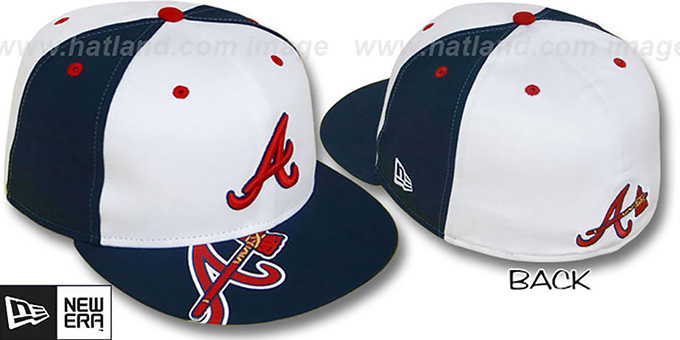 Braves 'ORLANTIC' White-Navy Fitted Hat by New Era : pictured without stickers that these products are shipped with