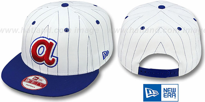 Braves 'PINSTRIPE BITD SNAPBACK' White-Royal Hat by New Era : pictured without stickers that these products are shipped with