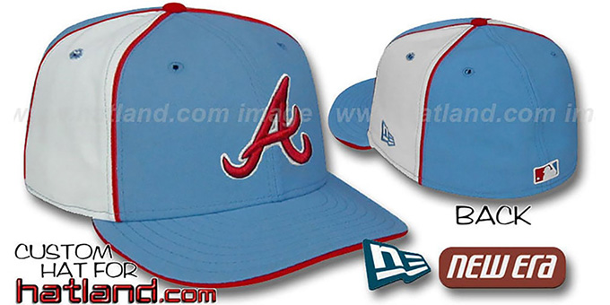 Braves 'PINWHEEL-2' Columbia-White Fitted Hat : pictured without stickers that these products are shipped with