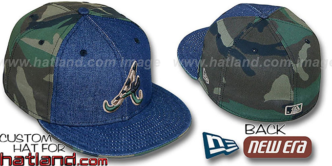 Braves 'PINWHEEL' Navy Denim-Army Camo Fitted Hat : pictured without stickers that these products are shipped with