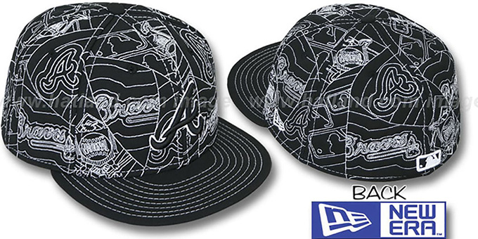 Braves 'PUFFY REMIX' Black-White Fitted Hat by New Era : pictured without stickers that these products are shipped with