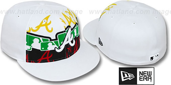 Braves 'RASTA LAYERED' White Fitted Hat by New Era : pictured without stickers that these products are shipped with