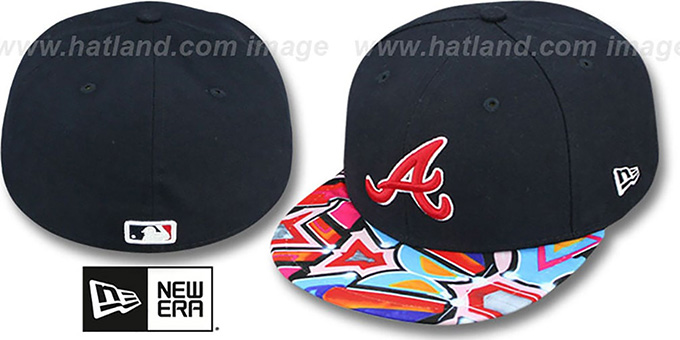 Braves 'REAL GRAFFITI VIZA-PRINT' Navy Fitted Hat by New Era : pictured without stickers that these products are shipped with