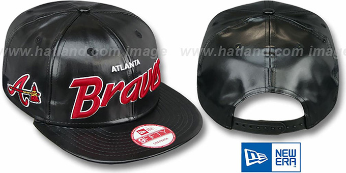Braves 'REDUX SNAPBACK' Black Hat by New Era : pictured without stickers that these products are shipped with