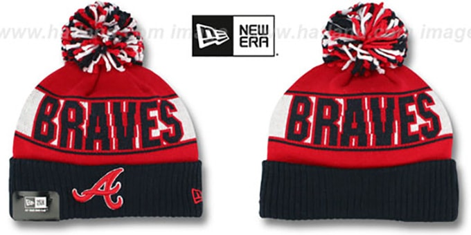 Braves 'REP-UR-TEAM' Knit Beanie Hat by New Era : pictured without stickers that these products are shipped with