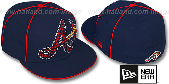 Braves 'REPEAT BIG-ONE' Navy Fitted Hat by New Era : pictured without stickers that these products are shipped with