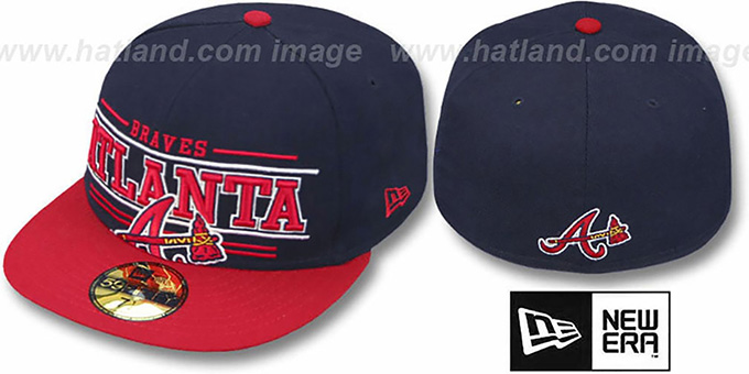 Braves 'RETRO-SMOOTH' Navy-Red Fitted Hat by New Era : pictured without stickers that these products are shipped with
