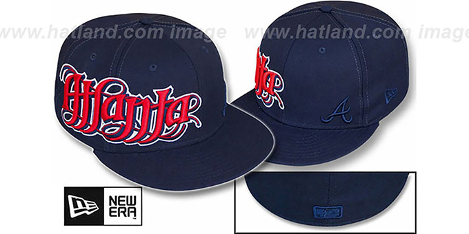 Braves 'RIGHT HOOK' Navy Fitted Hat by New Era : pictured without stickers that these products are shipped with