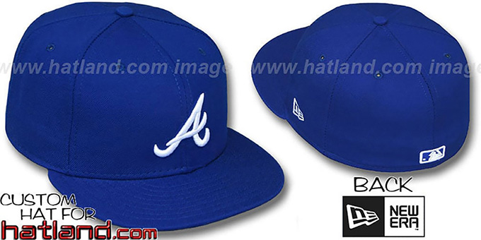 Braves 'ROYAL-WHITE' Fitted Hat by New Era : pictured without stickers that these products are shipped with