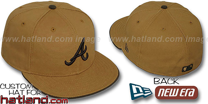 Braves 'RUGGED CANVAS' Fitted Hat by New Era - camel : pictured without stickers that these products are shipped with