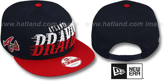 Braves 'SAILTIP SNAPBACK' Navy-Red Hat by New Era : pictured without stickers that these products are shipped with