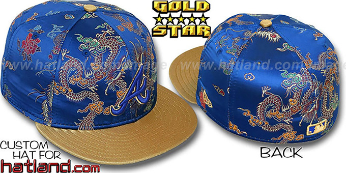 Braves 'SATIN DRAGONS' Royal-Gold Fitted Hat by New Era : pictured without stickers that these products are shipped with