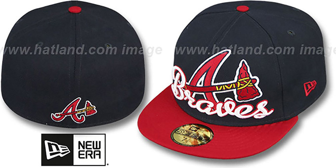 Braves 'SCRIPT-PUNCH' Navy-Red Fitted Hat by New Era : pictured without stickers that these products are shipped with