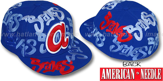 Braves 'SHOE POLISH ALL-OVER' Royal Fitted Hat by American Needle : pictured without stickers that these products are shipped with