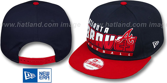 Braves 'SLICE-N-DICE SNAPBACK' Navy-Red Hat by New Era : pictured without stickers that these products are shipped with