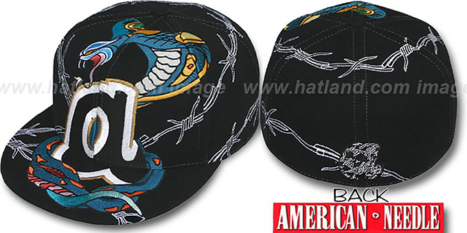 Braves 'SNAKE BITE' Black Fitted Hat by American Needle : pictured without stickers that these products are shipped with