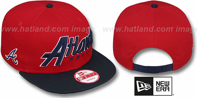 Braves 'SNAP-IT-BACK SNAPBACK' Red-Navy Hat by New Era : pictured without stickers that these products are shipped with