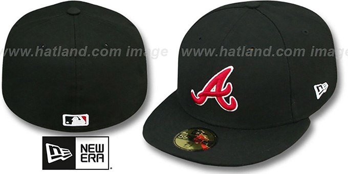 Braves 'SOLID TEAM-BASIC' Black-Red Fitted Hat by New Era : pictured without stickers that these products are shipped with