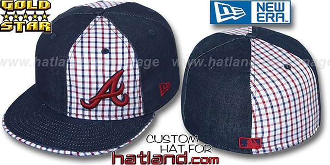 Braves 'SOUTHPAW SLUGGA' Plaid-Navy Denim Fitted Hat by New Era : pictured without stickers that these products are shipped with
