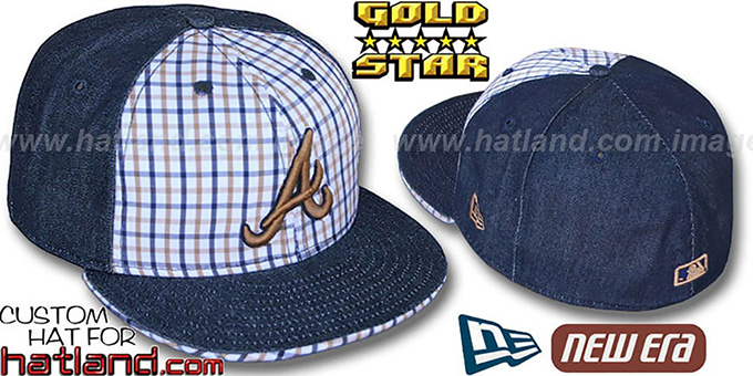 Braves SPANKY Plaid-Navy 'DENIM' Fitted Hat by New Era : pictured without stickers that these products are shipped with