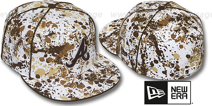 Braves 'SPLATTER' White-Brown Fitted Hat by New Era : pictured without stickers that these products are shipped with