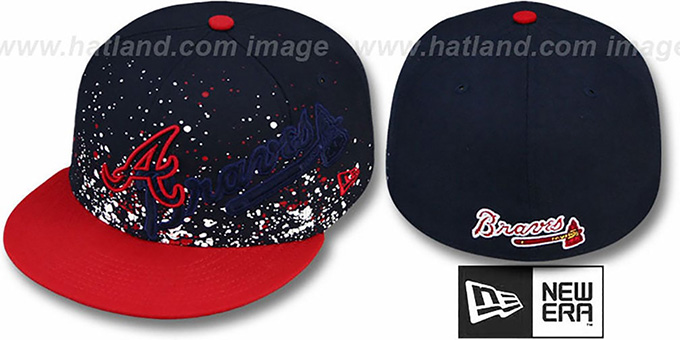 Braves 'SPLATZ' Navy-Red Fitted Hat by New Era : pictured without stickers that these products are shipped with