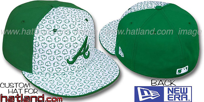 Braves 'ST PATS FLOCKING PINWHEEL' White-Kelly Fitted Hat by New Era : pictured without stickers that these products are shipped with