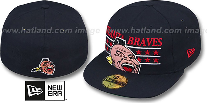 Braves 'STAR STUDDED' Navy Fitted Hat by New Era : pictured without stickers that these products are shipped with
