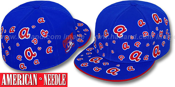 Braves 'STARSTRUCK' Royal Fitted Hat by American Needle : pictured without stickers that these products are shipped with