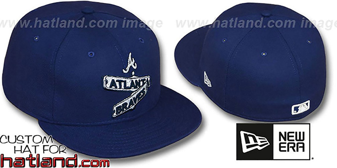 Braves 'STREET SIGNS' Navy Fitted Hat by New Era : pictured without stickers that these products are shipped with