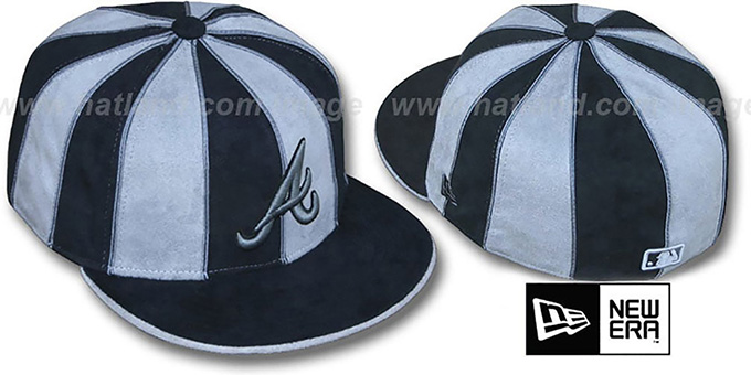 Braves 'SUEDE 12-PACK' Black-Grey Fitted Hat by New Era : pictured without stickers that these products are shipped with