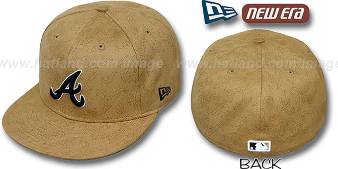 Braves 'SUEDE PINHOLE' Tan Fitted Hat by New Era : pictured without stickers that these products are shipped with