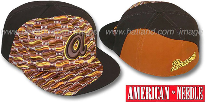 Braves 'SWEATER SWIRL' Brown Hat by American Needle : pictured without stickers that these products are shipped with