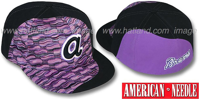 Braves 'SWEATER SWIRL' Purple Hat by American Needle : pictured without stickers that these products are shipped with