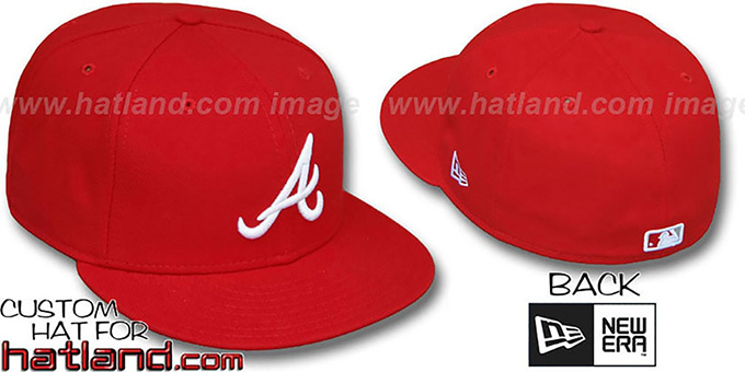 Braves 'TEAM BASIC'  Red-White Fitted Hat by New Era : pictured without stickers that these products are shipped with