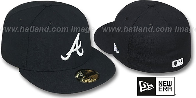 Braves 'TEAM-BASIC' Black-White Fitted Hat by New Era : pictured without stickers that these products are shipped with