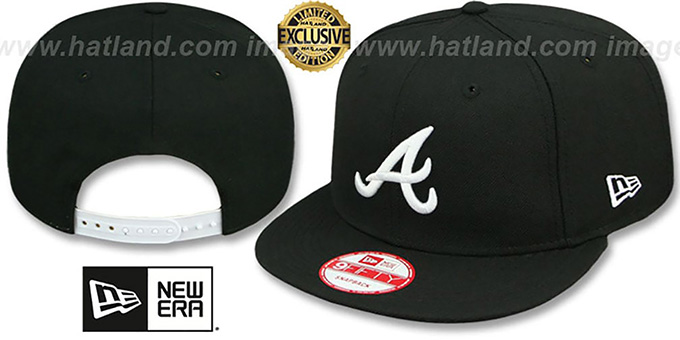Braves 'TEAM-BASIC SNAPBACK' Black-White Hat by New Era : pictured without stickers that these products are shipped with