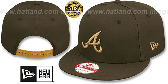 Braves 'TEAM-BASIC SNAPBACK' Brown-Wheat Hat by New Era : pictured without stickers that these products are shipped with