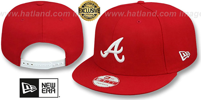 Braves 'TEAM-BASIC SNAPBACK' Red-White Hat by New Era : pictured without stickers that these products are shipped with