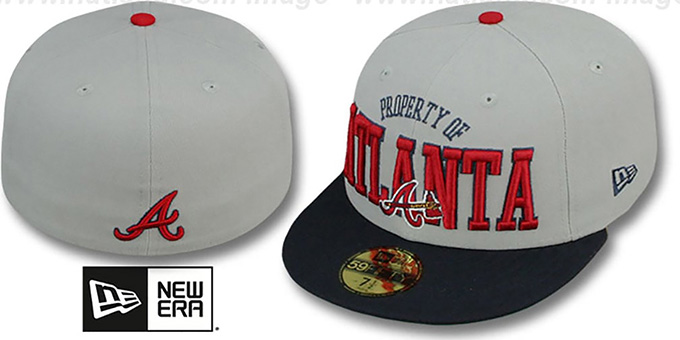 Braves 'TEAM-PRIDE' Grey-Navy Fitted Hat by New Era : pictured without stickers that these products are shipped with