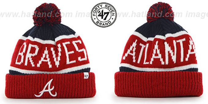Braves 'THE-CALGARY' Red-Navy Knit Beanie Hat by Twins 47 Brand : pictured without stickers that these products are shipped with