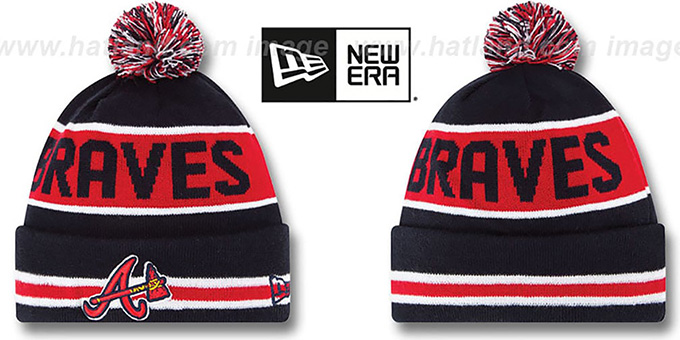 Braves 'THE-COACH' Navy Knit Beanie Hat by New Era : pictured without stickers that these products are shipped with