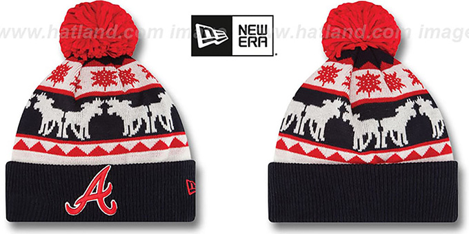Braves 'THE-MOOSER' Knit Beanie Hat by New Era : pictured without stickers that these products are shipped with