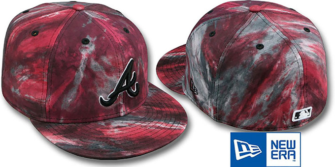 Braves 'TIE-DYE' Red Fitted Hat by New Era : pictured without stickers that these products are shipped with